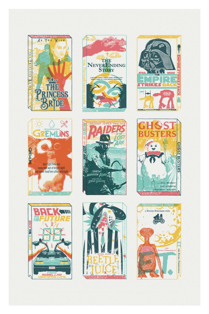 Classic 80s Movie Letterpress Jess Art Print