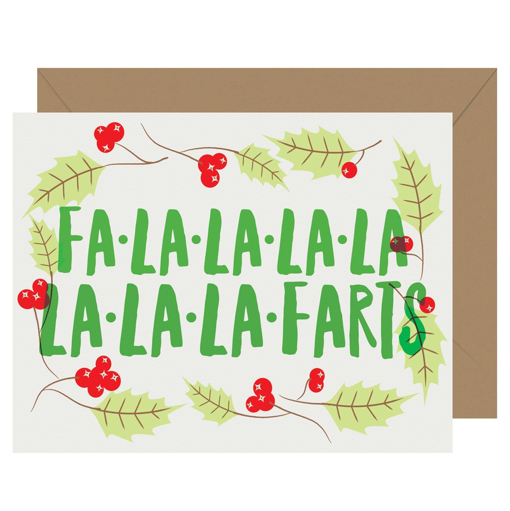 Fa-La-La-La-Farts letterpress holiday card from Letterpress Jess