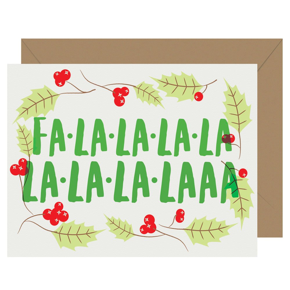 Fa-La-La-La-La letterpress holiday card from Letterpress Jess