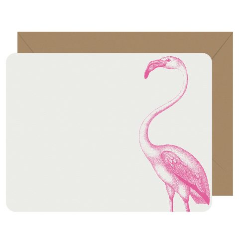 Flamingo flat boxed letterpress notecards from Letterpress Jess
