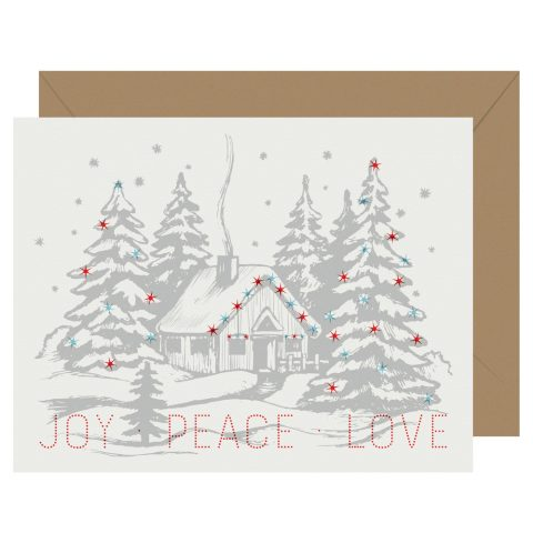 Joy Peace and Love Holiday card from Letterpress Jess