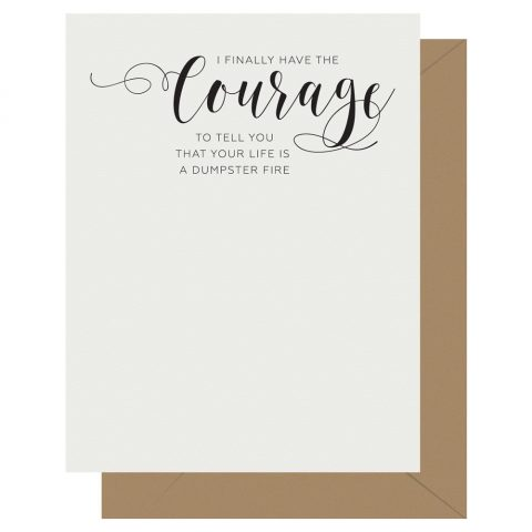 Courage Crass Calligraphy greeting card by Letterpress Jess