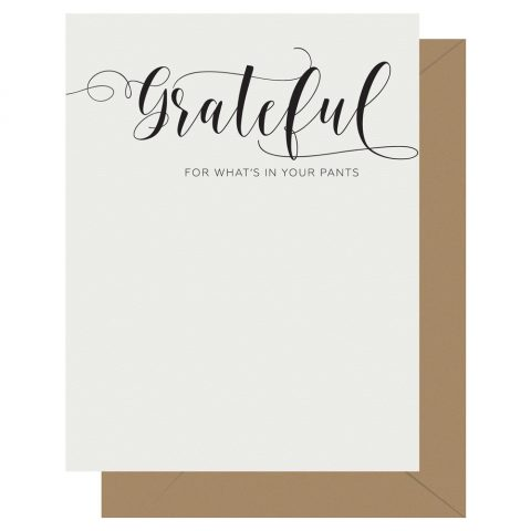 Grateful Crass Calligraphy greeting card by Letterpress Jess
