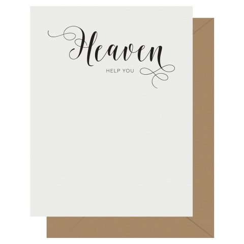 Heaven Crass Calligraphy greeting card by Letterpress Jess