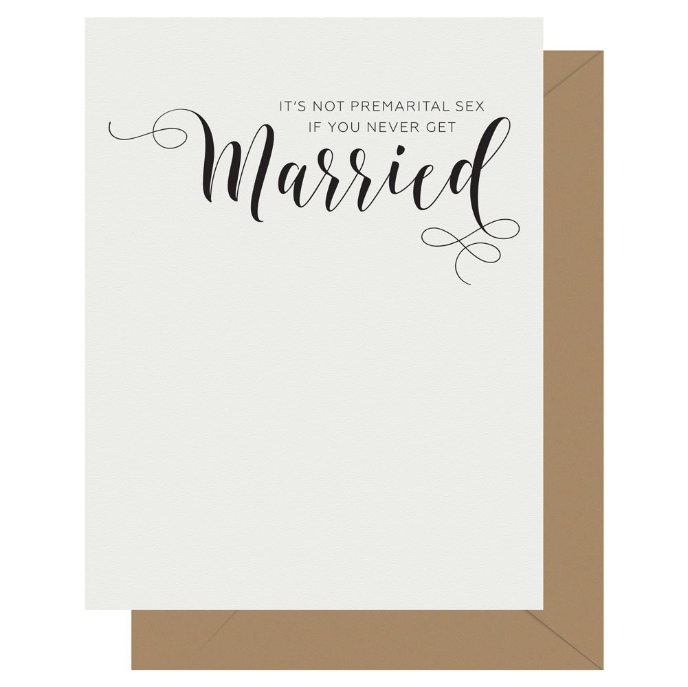 Married Crass Calligraphy greeting card by Letterpress Jess