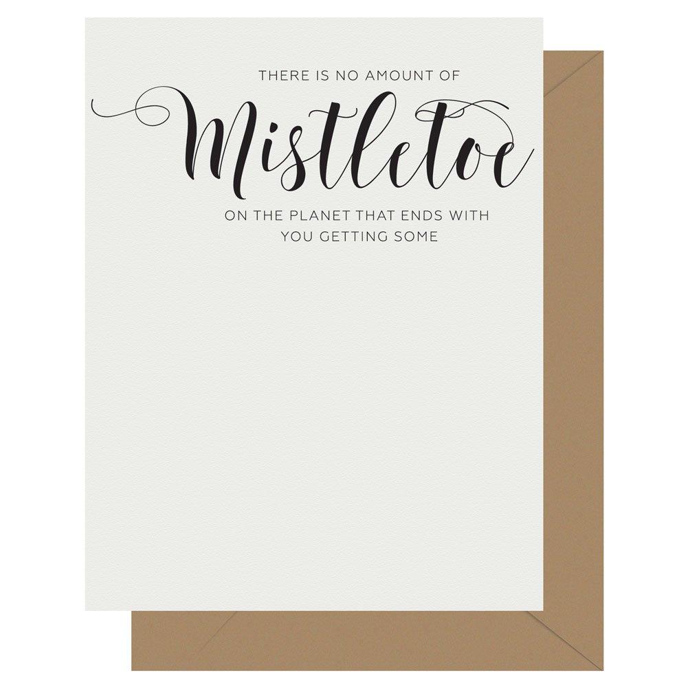 Mistletoe Crass Calligraphy greeting card by Letterpress Jess