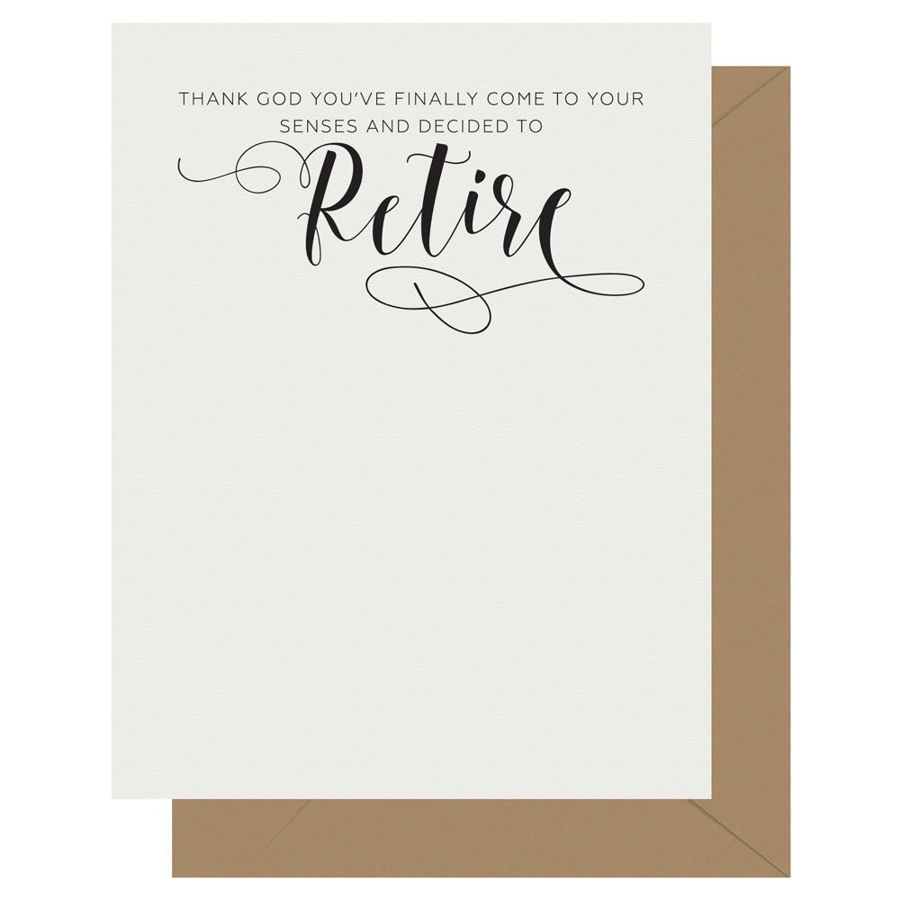 Retire Crass Calligraphy greeting card by Letterpress Jess