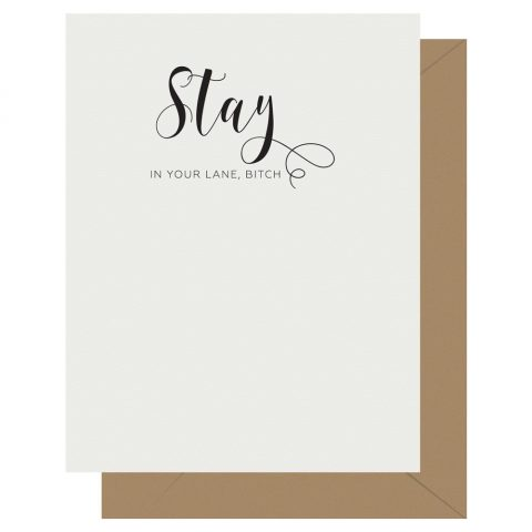 Stay Crass Calligraphy greeting card by Letterpress Jess