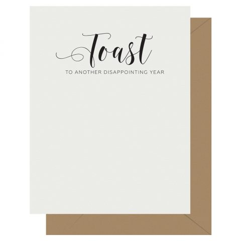 Toast Crass Calligraphy greeting card by Letterpress Jess