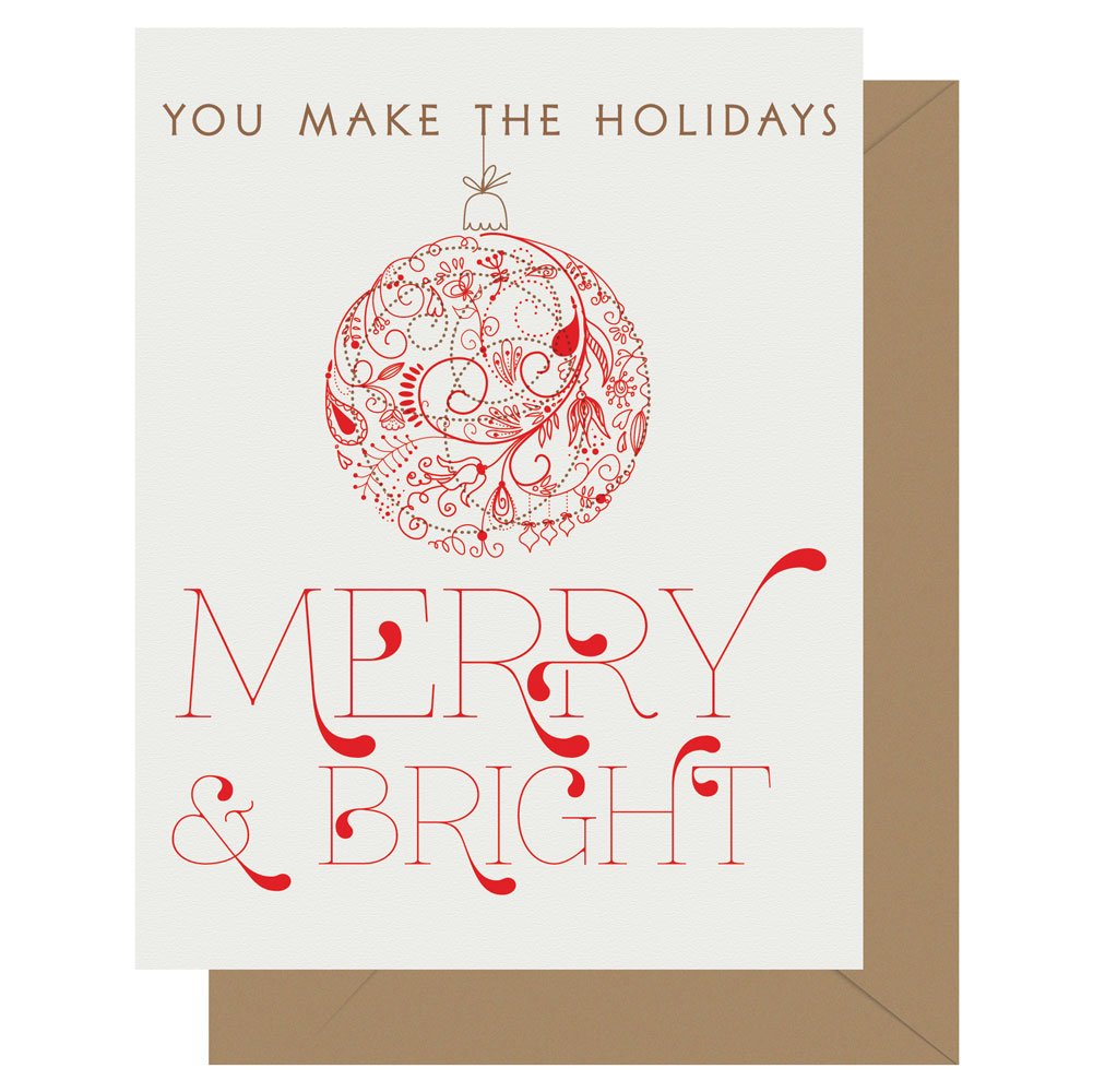 You make the holidays Merry & Bright Letterpress holiday card from Letterpress Jess