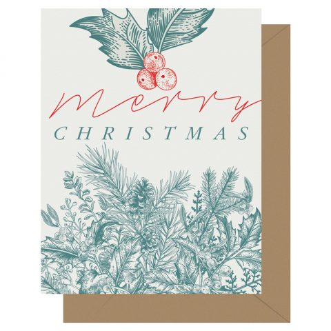 """Merry Christmas"" letterpress holiday card from Letterpress Jess featuring a festive sprigs of holly and evergreen from Letterpress Jess"