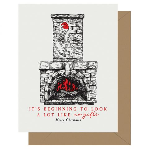 It's beginning to look a lot like no gifts. Merry Christmas letterpress holiday card from Letterpress Jess