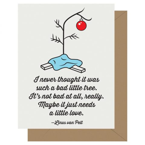 Not such a bad little tree Charlie Brown Christmas Peanuts holiday card from Letterpress Jess