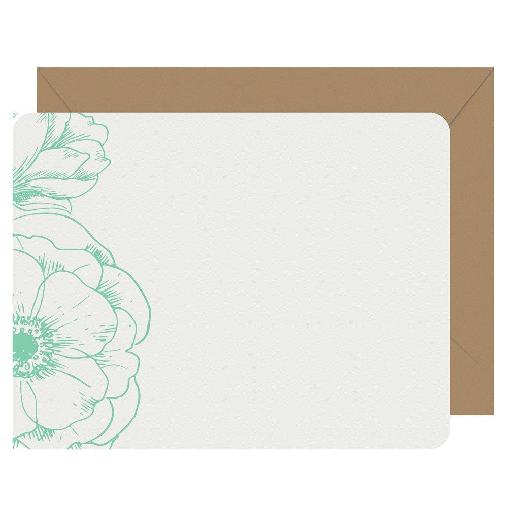Peonies flat letterpress notecards from Letterpress Jess