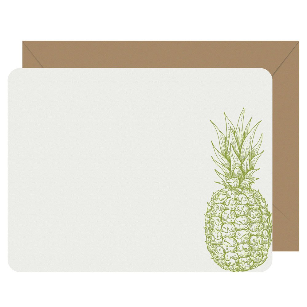 Pineapple letterpress flat notecards from Letterpress Jess