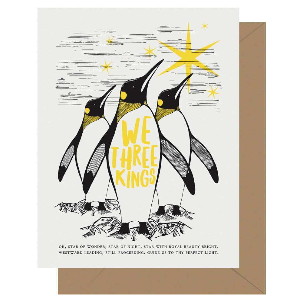 We three kings penguin letterpress holiday card by Letterpress Jess