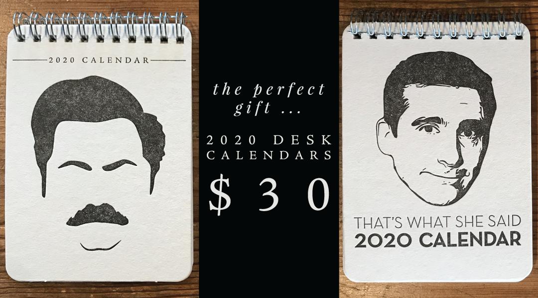 2020 Letterpress Desk Calendars