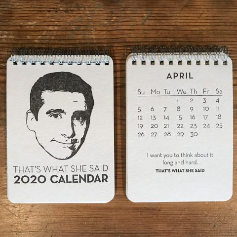 Michael Scott The Office That's What She Said 2020 Letterpress Desk Calendar