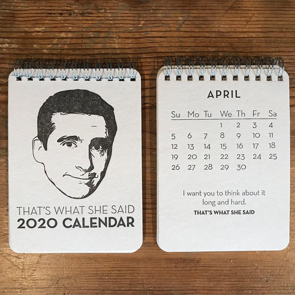 Michael Scott The Office That's What She Said 2020 Letterpress Desk Calendar
