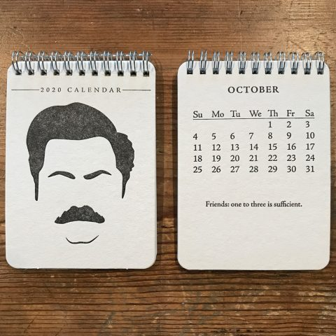 Ron Swanson Parks & Recreation 2020 Letterpress Desk Calendar