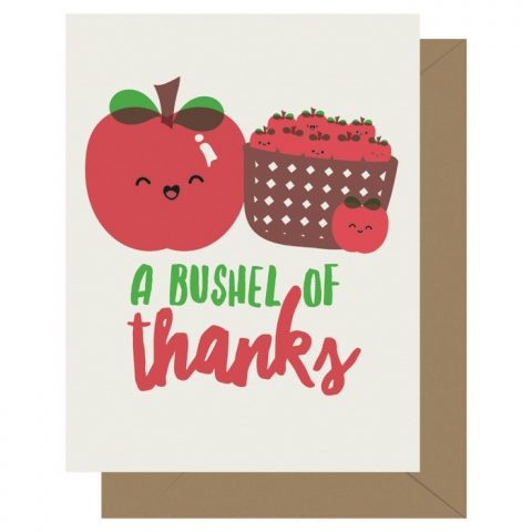 Bushel of Thanks Cutie Kawaii Letterpress Greeting Card
