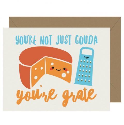 Not Gouda You're Grate Cutie Kawaii Letterpress Jess