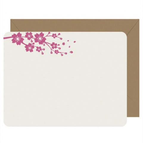 Cherry Blossom Set of 8 Flat Note Cards