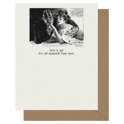 Downhill - Gibson Girl | Letterpress Greeting Card