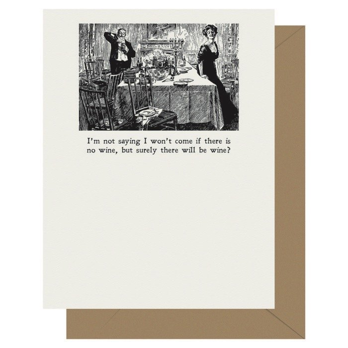 Wine - Gibson Girl | Letterpress Greeting Card