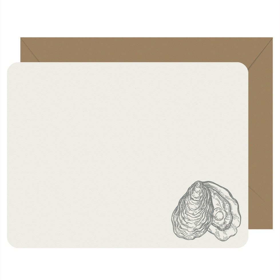 Oyster Set of 8 Flat Note Cards