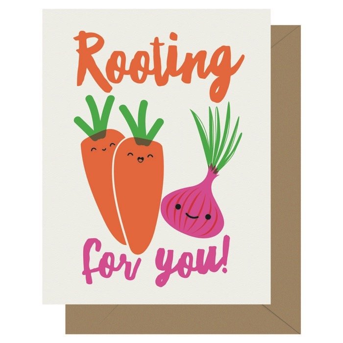 Rooting for You Cutie Kawaii Letterpress Greeting Card