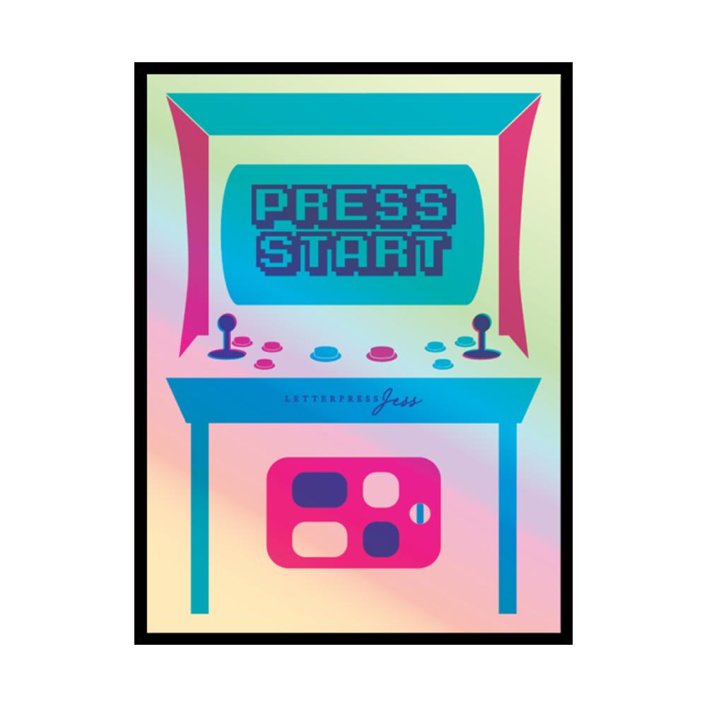 Press Start Arcade Holographic Sticker