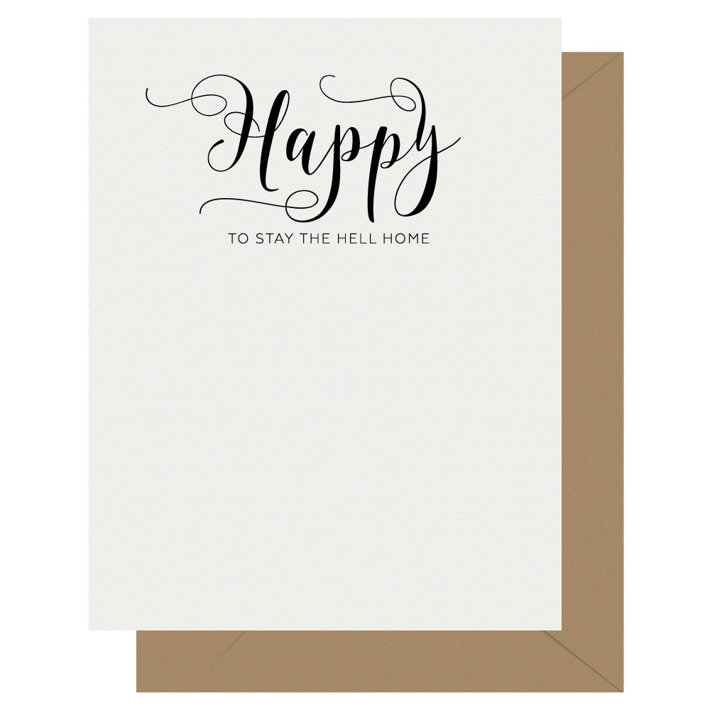 Happy Crass Calligraphy Quarantine Letterpress Greeting Card