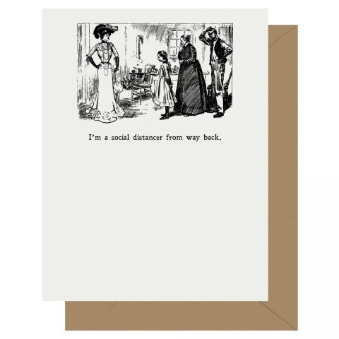 Social Distancing Letterpress Jess Gibson Girl Greeting Card