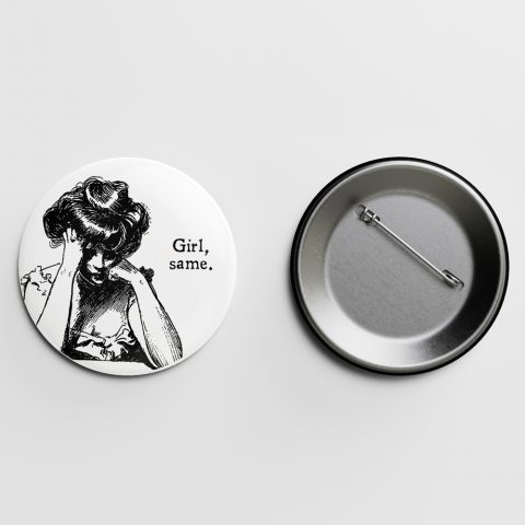 Girl, same Gibson Girl Pin Letterpress Jess
