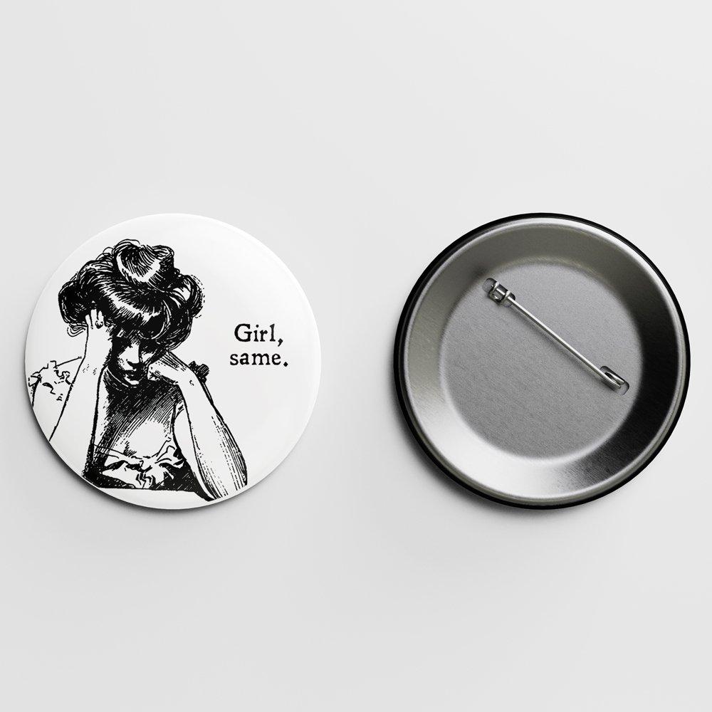 Girl, same Gibson Girl Pin Letterpress Jess