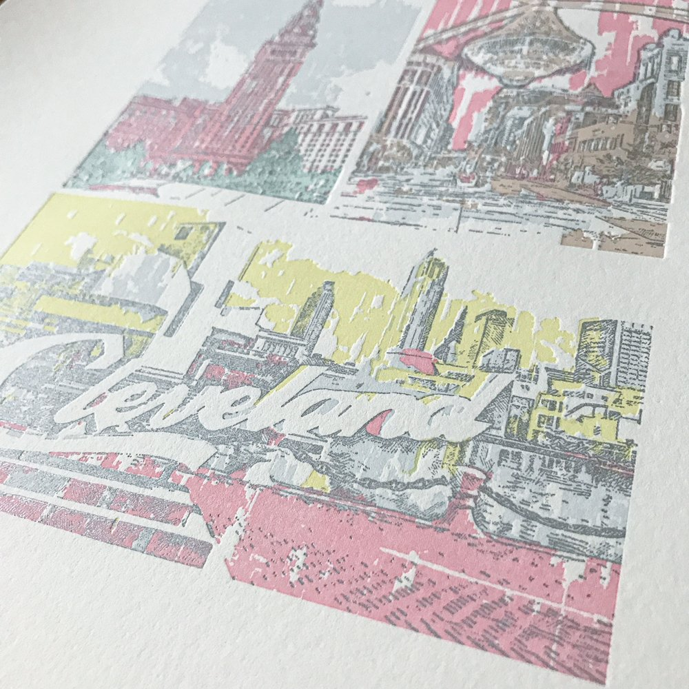 Close-up of Cleveland, Ohio Places We Love Letterpress print