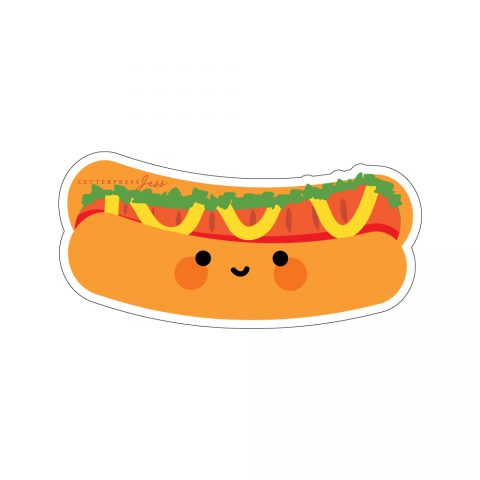 Hot Dog Cutie Kawaii Sticker by Letterpress Jess