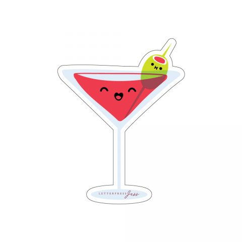 Martini Cocktail Cutie Kawaii Sticker by Letterpress Jess