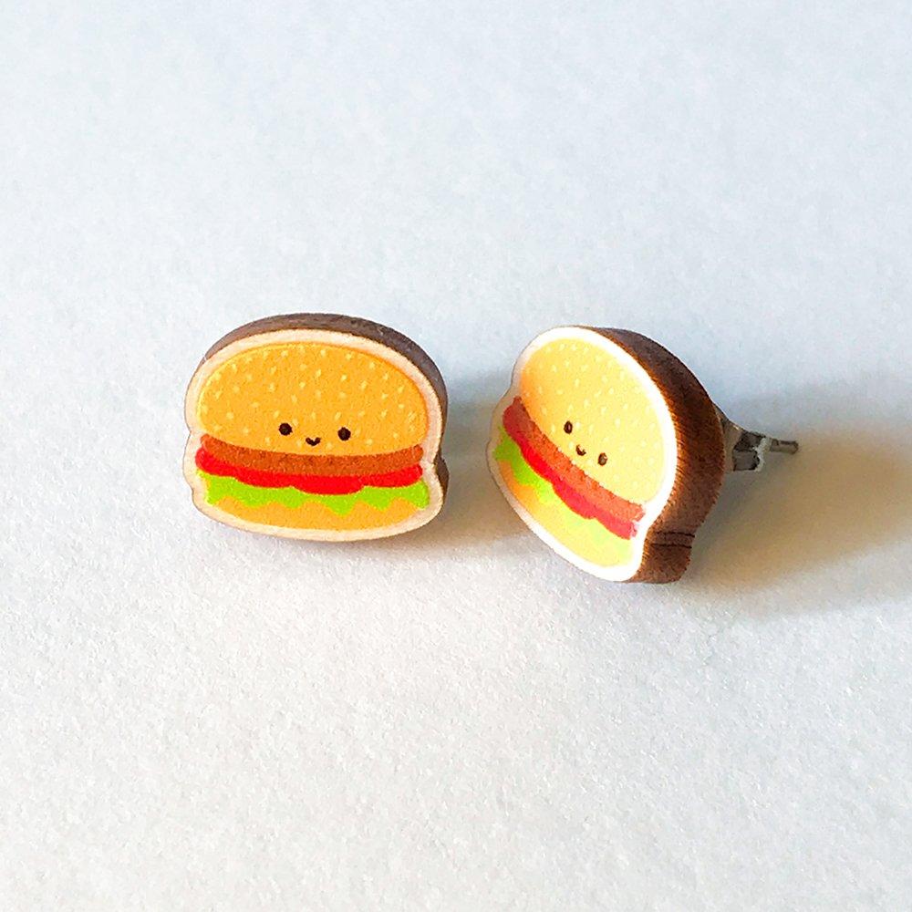 Cutie Kawaii Burger Earrings