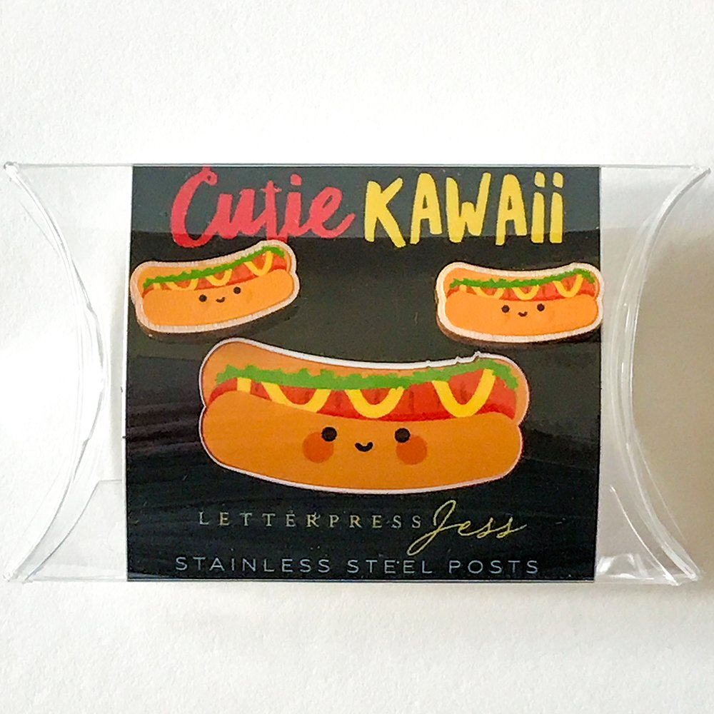 Cutie Kawaii Hot Dog Earring Package