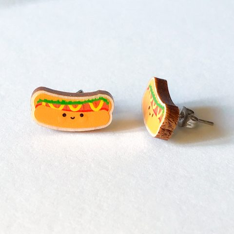 Cutie Kawaii Hot Dog Earrings