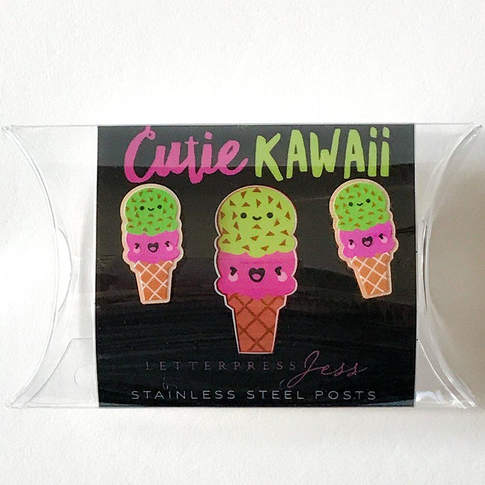 Cutie Kawaii Ice Cream Earring Package