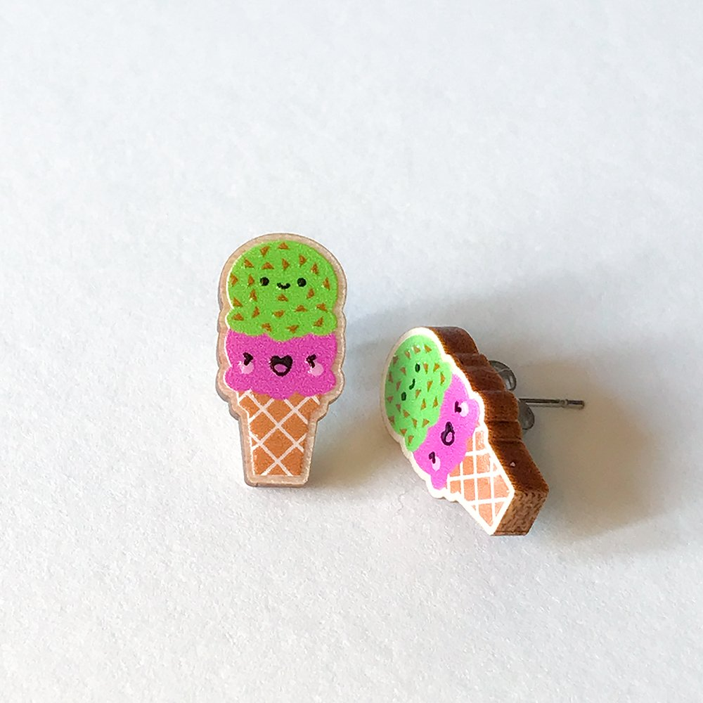 Cutie Kawaii Ice Cream Earrings