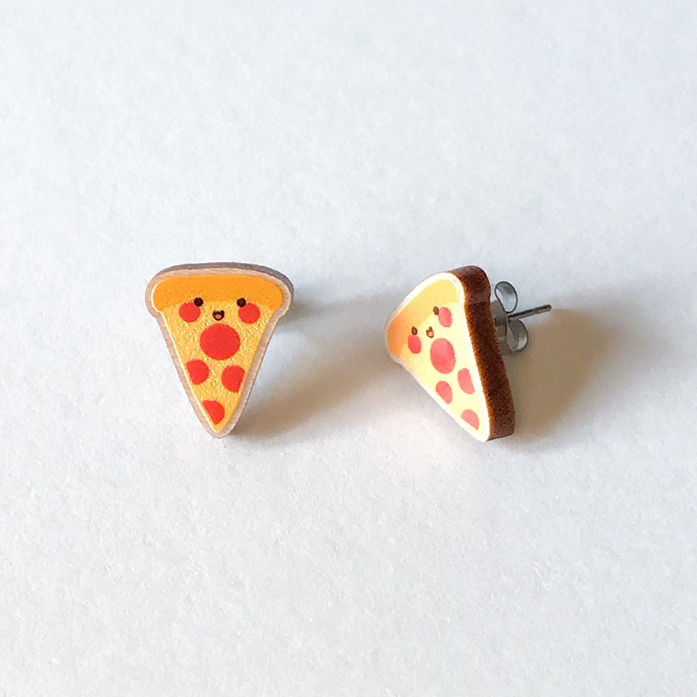 Cutie Kawaii Pizza Earrings