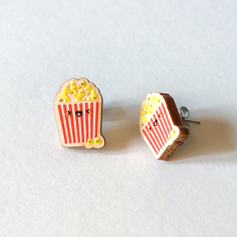 Cutie Kawaii Popcorn Earrings
