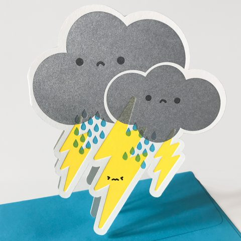 Cutie Kawaii Storm Letterpress Greeting Card