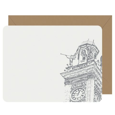 Downtown Canton Clocktower Angels Flat Letterpress Notecards