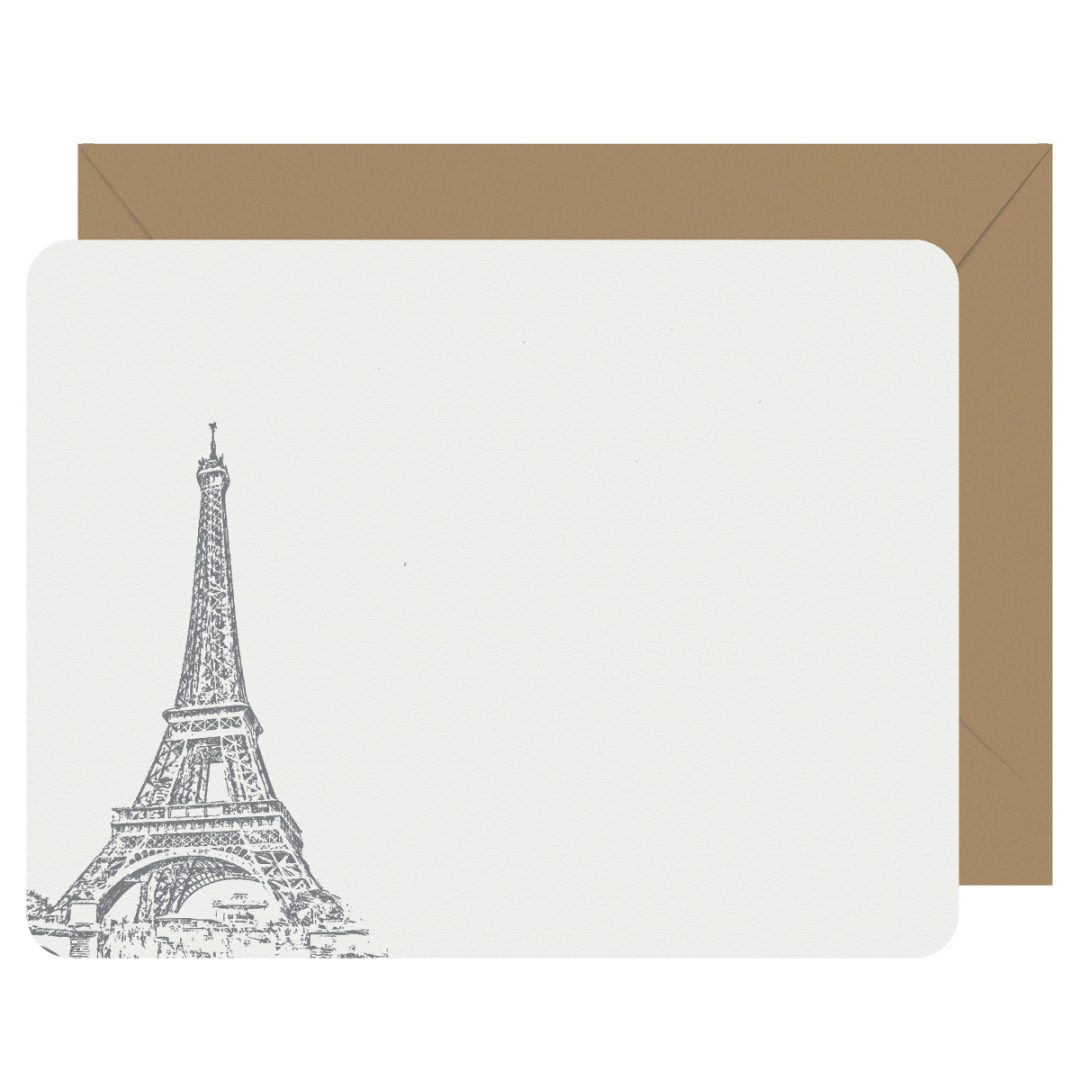 Paris Eiffel Tower Flat Letterpress Notecards
