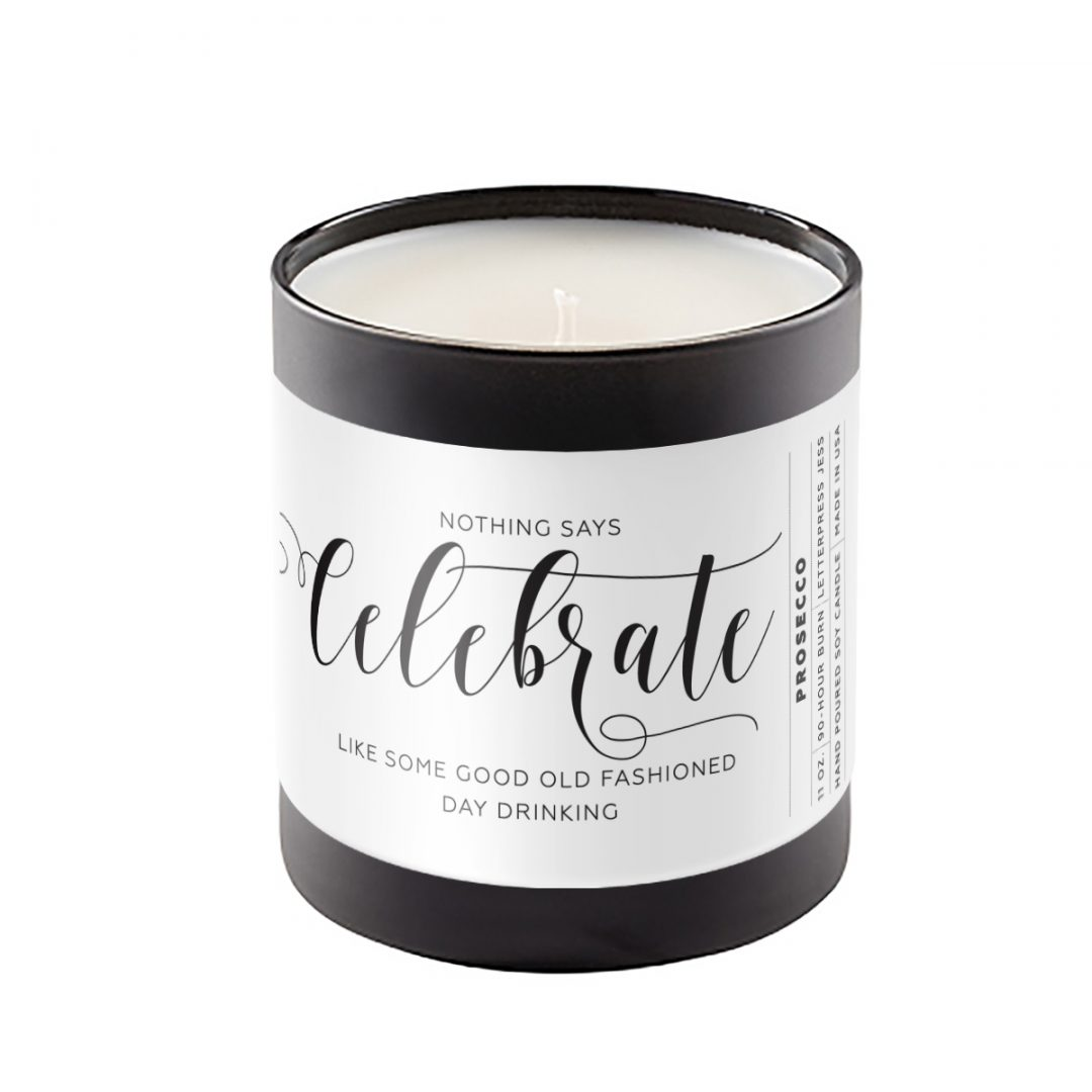 Celebrate Crass Calligraphy Candle